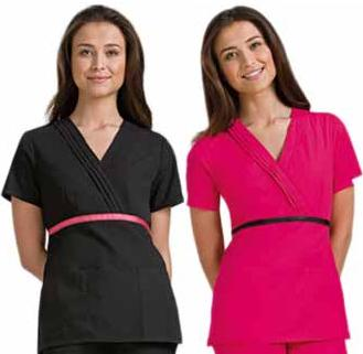 Cherokee Mock Wrap Scrub Top