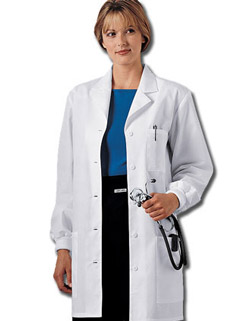 Cherokee long sleeve knit cuff lab coat